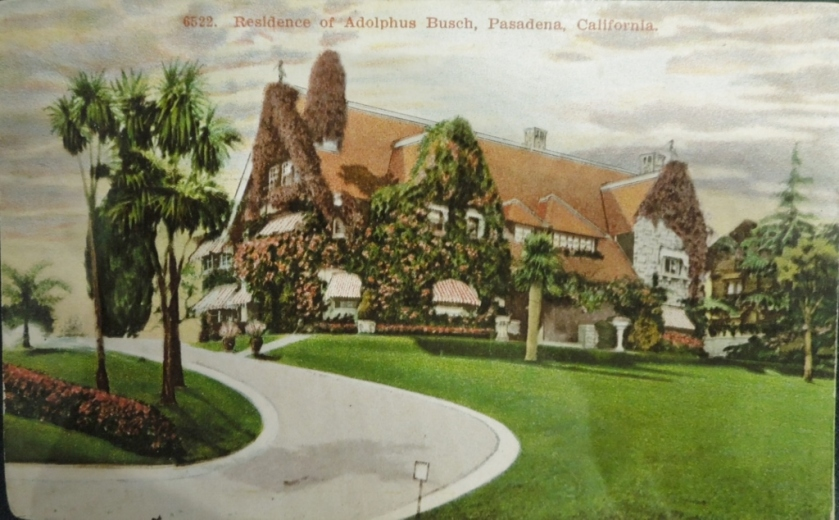 "Vintage postcard of the Busch's Pasadena home, called ""Ivy Wall.""  The grounds, the original Busch Gardens, were open to the public."