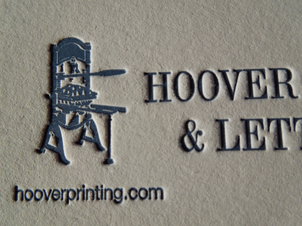The Text And Image Of A Printing Press Are Deep In This Business Card