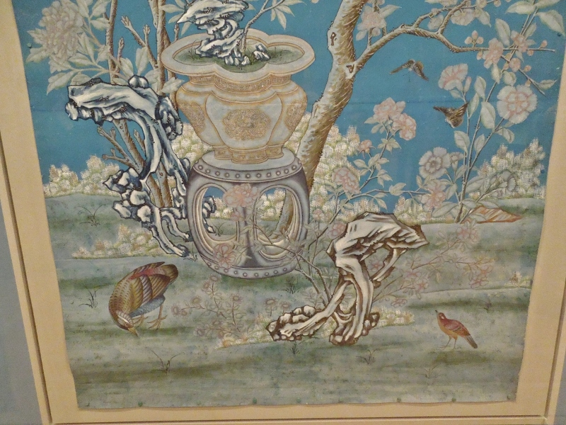 Wallpaper hand-painted and -printed in China about 1780. From Houghton Hall.